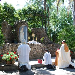 Devotions at the Fatima Grotto