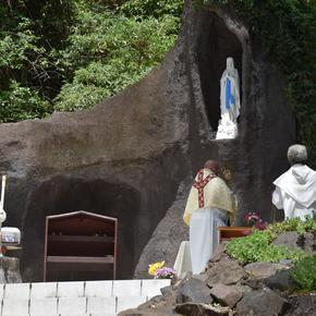 Devotions at the Chapel of Our Lady of Lourdes.