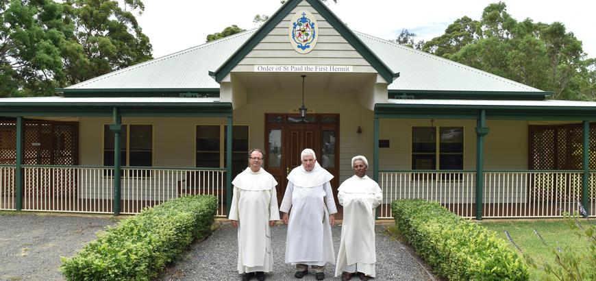 The Pauline Fathers, who are the custodians of the shrine outside their Monastery.