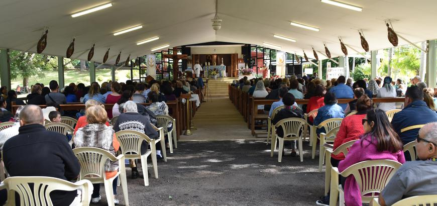 The main Chapel of the Black Madonna filled with pilgrims.