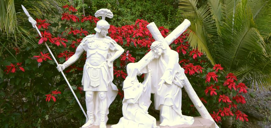 One of the life sized Stations of the Cross .